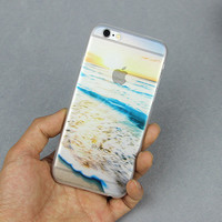 New Design Transparent Ocean Sandy beach Foam Sunlight Case For iPhone 5 5S SE 6 6S Plus 4.7 5.5 art print Hard Back Cover