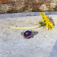 Vintage Silver Tone Purple Catseye Cabochon Ring