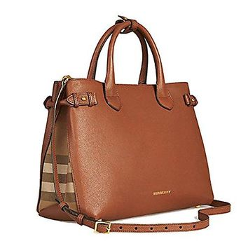 30de4f01dd4c Tote Bag Handbag Authentic Burberry Medium Banner in Leather and House  Check TAN Item 39807941