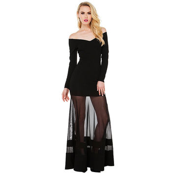 Black Long Sleeve Off Shoulder Maxi Dress with Mesh Skirt