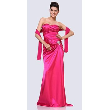 Fuchsia Satin Prom Dress Pleated Bodice Strapless Sweetheart Neck