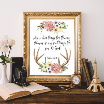 Bible verses art Bible quote Christian wall art 'As a deer longs' Psalm 42:1 Scripture Print Printable 8x10 Digital file Watercolor SALE