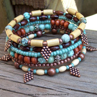 Copper and African Turquoise Memory Wire Wrap Bracelet