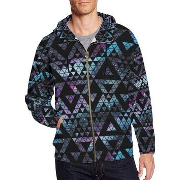 Colorful Prism Triangles Design 2 Men's All Over Print Full Zip Hoodie
