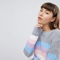Daisy Street Relaxed Jumper In Stripe at asos.com