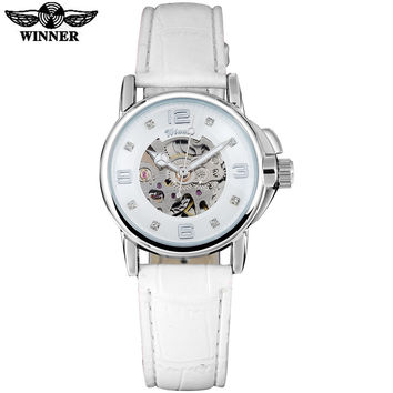 WINNER brand women watches skeleton mechanical watch white leather band ladies simple fashion casual clock relogio femininos