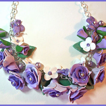 "Three Shades of Purple Roses Necklace 16"" Polymer Clay Hand Crafted Pearls Crystals Lavender Orchid One of a Kind"