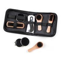 Black Leatherette Travel Accessory | Deluxe Shoe Shine Kit