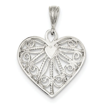 Sterling Silver Fancy Heart Charm QC595