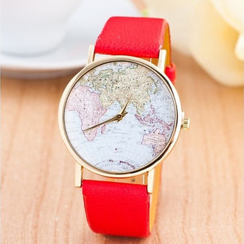 Fashion Leather Band World Map Design Analog Students Casual Quartz Wrist Watch [8081670151]