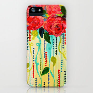 ROSE RAGE Stunning Summer Floral Abstract Flower Bouquet Feminine Pink Turquoise Lime Nature Art iPhone Case by EbiEmporium