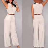 Stylish V-Neck Sleeveless Button Design Wide Leg Women's Jumpsuit | Kitty's Clawset