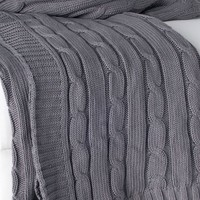 Gray Favorite Cable Knit Sweater Throw