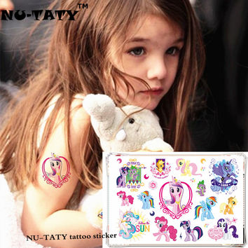 NU-TATY My Little Pony Toy Child Temporary Tattoo Body Art Flash Tattoo Stickers 17*10cm Waterproof Henna Tatoo Styling Sticker