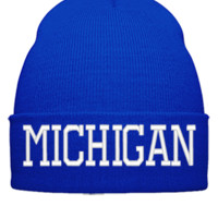 MICHIGAN EMBROIDERY HAT - Beanie Cuffed Knit Cap