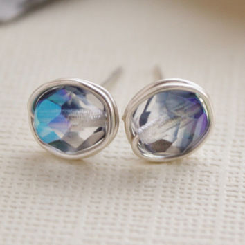 Stud earrings grey czech glass - nickel free, silver plated non tarnishing