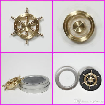 Rudder helmsman style fidget spinners with retail box Luxury Copper Brass fidget spinners toys steersman Tri-spinner Six Arm spinners toy