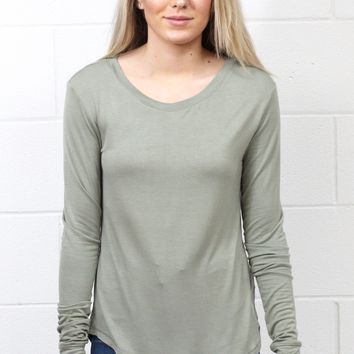 Comfy Basic U-Hem Long Sleeve {Sage Green}
