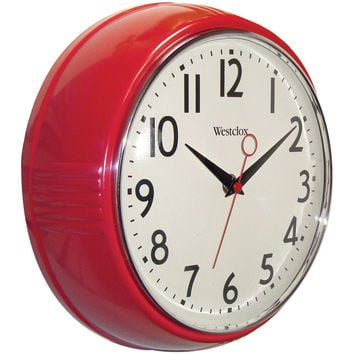 "WESTCLOX 9.5"" Retro 1950s Kitchen Wall Clock 32042R 32042R 844220006080"