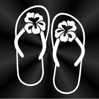 Hibiscus Flip Flop Decals, Flip Flop Hibiscus Decals, Wall, Laptop, Car, Window Vinyl Decal, Sticker 10471