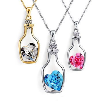 2015 hot sell Korean Women's Crystal Love Heart Drift Wishing bottle Pendant Necklace 56JZ
