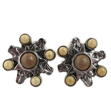 Vintage Silver Tone Brown Bead Earrings, Signed Robert Rose Clip-on Earrings, 70s Retro Jewelry