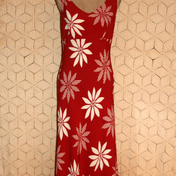 Summer Dress 80s Dress Red & White Floral Dress Sleeveless Dress Maxi Dress Long Luau Dress Beach Dress Small Medium Womens Clothing