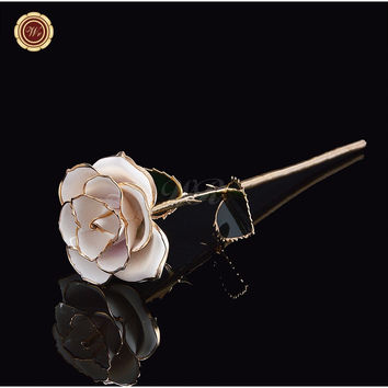 White 24k Gold Real Rose for Anniversary & Birthday Gifts Gold Flower for Christmas Home Decor with Gift Box Packing