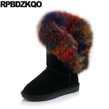 Designer Suede Black Slip On 11 Furry Mid Calf Size 10 Shoes Women Snow Boots Winter Fur Big 34-43 Real Fox Flat Warm Colorful