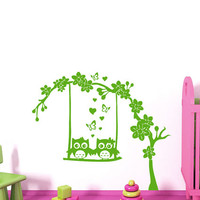 Wall Decals Owl on Branch Childrens Decor Kids Vinyl Sticker Wall Decal Nursery Baby Room Bedroom Murals Playroom - Owl Decor SV6010