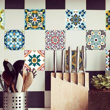15*15cm/20*20cm Colorful Mosaic Wall Waterproof Self adhesive Wallpaper Furniture Kitchen Mediterranean Tile Sticker Wall Decal