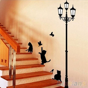 Cats Street Lamp Lighs Stickers Wall Decal Removable Art Vinyl Mural Decal Decor = 1644792388