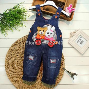 2015 Retro Baby Boys Girls Kids Children Washed Denim Jeans Bear Rabbit Pants Casual Trousers Overalls Rompers S1169