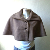 Herringbone wool cape, capelet in brown and black, Fully lined, available Sizes S-XL.