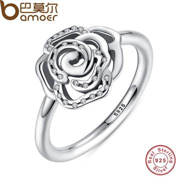 BAMOER Shimmering Delicate Rose Flower Ring with Clear CZ Ring Original 100% 925 Sterling Silver Jewelry Engagement Ring PA7138