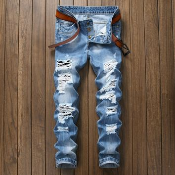 Ripped Holes Blue Baggy Jeans Men Jeans [164468949021]