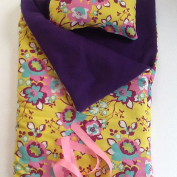 "Doll Sleeping Bag and pillow,  18"" dolls and others, yellow with teal, pink, white flowers, purple fleece, for slumber party or camping bag"