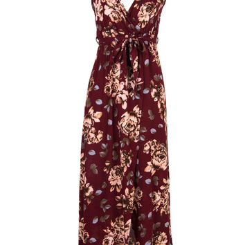 Multicolor V-Neck Floral Wrap Front Maxi Cami Dress