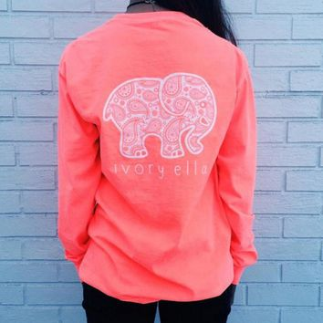 One-nice™ The new long-sleeved T-shirt Elephant pattern blouse