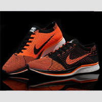 """NIKE"" Net surface breathable sneaker soft-soled running casual shoes Orange black hook"