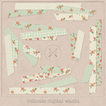 Green digital Washi Tape Flowers. Slight transparent digital japanese tape shabby floral washi clipart perfect for scrapbooking card making