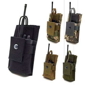 Tactcial Molle Radio Holder Walkie Talkie Holster Open Top M4 5.56 Mag Pouch