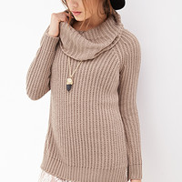 FOREVER 21 Ribbed Cowl Neck Sweater