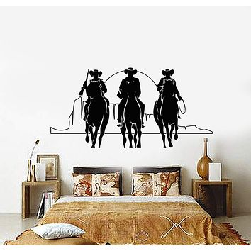 Vinyl Wall Decal Western Cowboys Horses Sunset Movie Cinema Stickers Unique Gift (901ig)