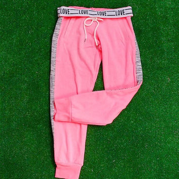 LOVE LOUNGE PANTS IN NEON PINK