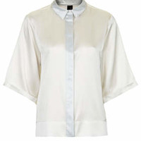 Satin Contrast Shirt by Boutique - Ivory