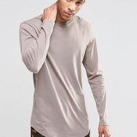 ASOS Longline Long Sleeve T-Shirt With Curved Hem In Beige