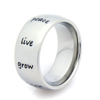 Peace, Hope, Love, Faith....Stainless Steel Stainless Steel Ring 5-9