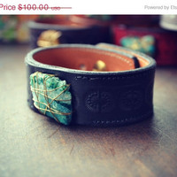 ON SALE LUX Bohemian Adjustable Stacking Recycled Black Leather Raw Chrysocolla Gemstone Cuff with Brass Thumb Post