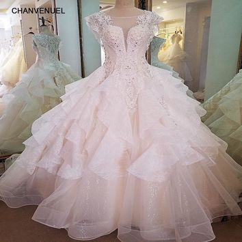 LS68906 luxury wedding gown 2018 deep V neck ball gown cap sleeves beaded crystal lace wedding dresses real photos